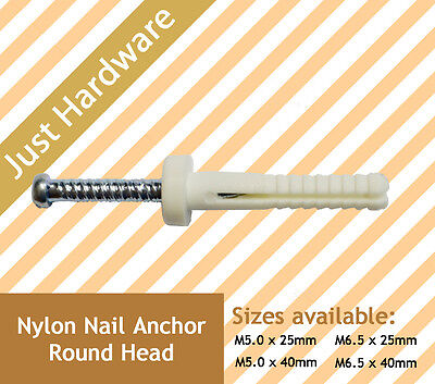 Round Head Nylon Knock in Nail Plug Masonary Anchor M5 M6 5 6 x 25 40 mm NEW