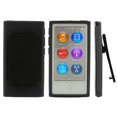 Black TPU Case Cover with Belt Clip for Apple iPod Nano 7th Gen 7 7G