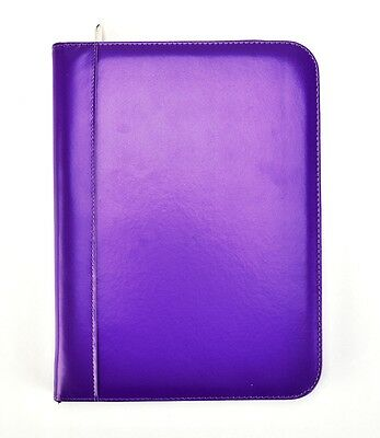 A4 Purple Deluxe Padded PU Cover Business Conference Ring Binder Portfolio