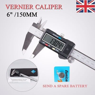 "6""/150mm Digital LCD Vernier Caliper Micrometer Hardened Stainless Steel+Case UK"