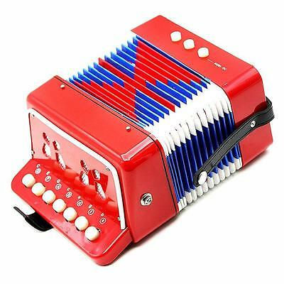 NEW! 7 Keys 2 Bass Children's Red Toy Accordion Musical Instrument