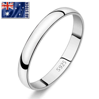 Genuine 925 Sterling Silver Solid 2mm Thin Classic Plain Band Wedding Ring