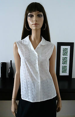 Chemisier Blanc Vintage Broderie Anglaise Taille 40