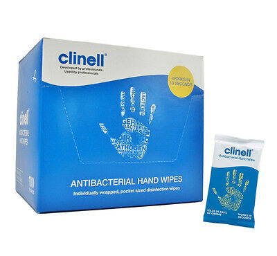 Clinell Antibacterial Hand Wipes Works in 10 secs 100pk