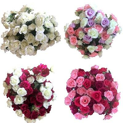4x 21 Heads Rose Bunch Artificial Flower  Home Decor Bridal Bouquet Floral