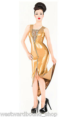 Rubber Latex Westward Bound COCKTAIL DRESS Size 18 UK *PEARLSHEEN GOLD* SECONDS