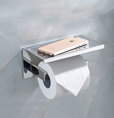 Toilet Paper Holders Tissue Roll Holder with Shelf, Self Adhesive