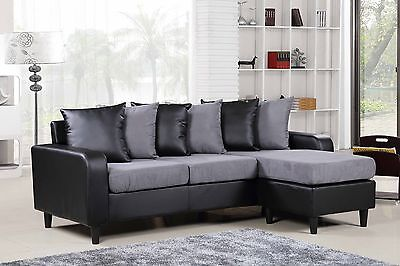 Modern L Shape Corner Sofa In Black Or Brown Faux Leather Grey Beige Fabric New