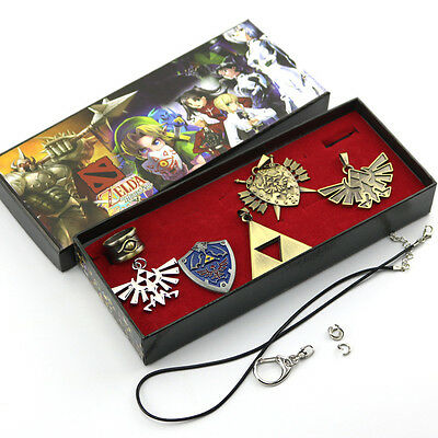 6pcs The Legend of Zelda Triforce  Ring Pendant Necklace Keychain Set Gift box