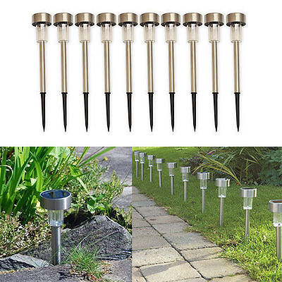 10/ 20 Solar Powered Garden Lights Post Patio Outdoor Stainless Steel Led Lights