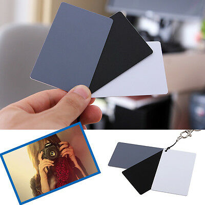 3 in1 Pocket Digital Grey Black White Balance Cards18% Gray Card for Photography