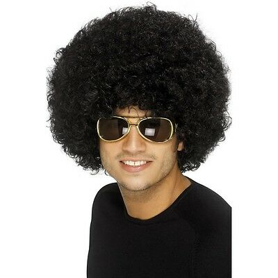 Black Disco Funky Afro Wig Adult Unisex Smiffy's Fancy Dress Costume 70's Fun