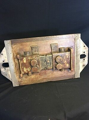 """Vintage Industrial Wooden Foundry Mold Wall Decor 23""""x 12"""" Early 1900's"""
