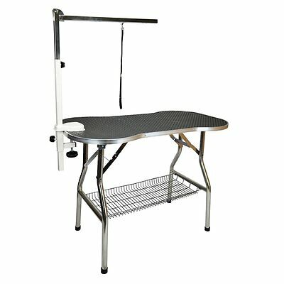 "Heavy Duty S/S 44"" Large Foldable Pet Dog Grooming Table w/ Arm by Flying Pig"
