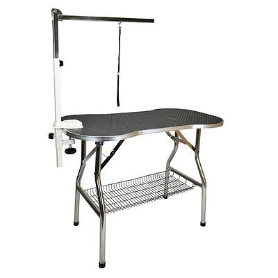 "Heavy Duty Stainless Steel 44"" Large Foldable Pet Dog Cat Grooming Table w/ Arm"
