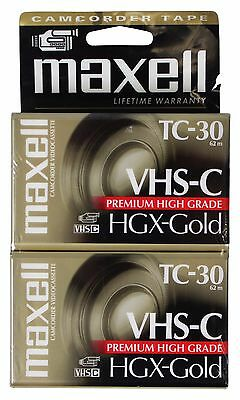 NEW LOT Of 2 MAXELL TC-30 HGX-Gold VHS-C Camcorder VIDEO TAPES Sealed NEW !