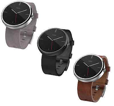 Motorola Moto 360 42mm Leather Smart Watch 1st Gen Smartwatch for Android & iOS
