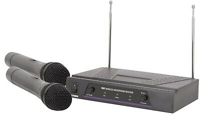 QTX Dual Handheld VHF VH2 Pro Microphone System in Carry Case 174.1 - 175.0 MHz