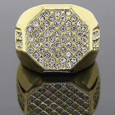 Men's 14K Gold Plated Hip Hop Shield Ring Sizes 7 8 9 10 11 12