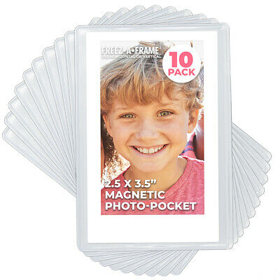 Magnetic Photo Pocket Frame, White, Holds Wallet Size 2.5x3.5 Photos 10 Pack