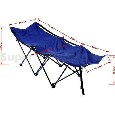 Portable Folding  Camping Cot Bed Blue 150Kg