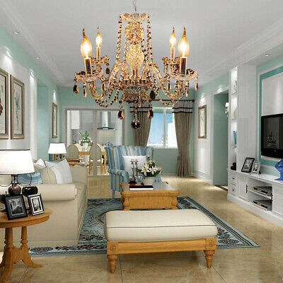 Elegant Crystal Chandelier Modern Ceiling Light 4 Lamp Pendant Fixture Lighting