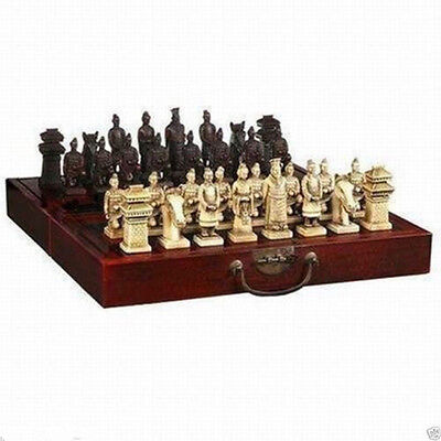 Rare Chinese Dragon wood Leather box with 32 Chess Set +Gift+  FREE SHIPPING