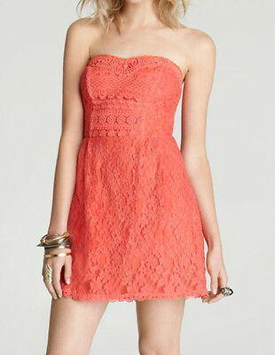 Free People ~ Coral Lace Strapless Crochet Trim A-Line Party Dress 10 NEW $148