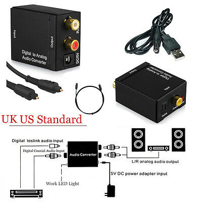 Optical Coaxial Toslink Digital to Analog Audio Converter Adapter RCA L/R +Cable