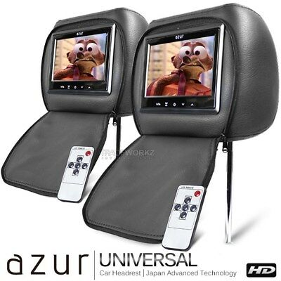 "New Pair AZUR 7"" Headrest Monitor Black Leather HD Screen Car DVD Screen (Japan)"