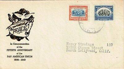 1940 Ecuador - Fiftieth Anniversary of the Pan American Union FDC addressed toUS