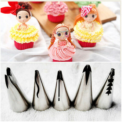 5x Russian Tulip Icing Piping Nozzles Cake Decoration Tips Cooking Tools Skirt
