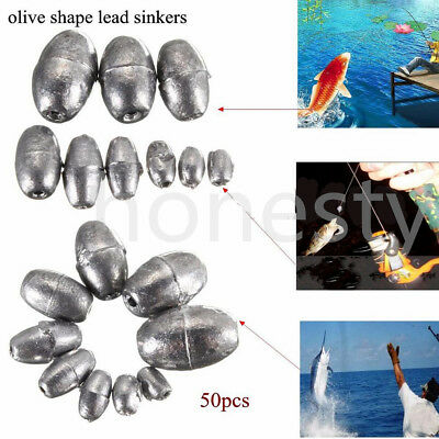 50pc Olive Shape Weights Lead Sinkers Pure Lead Making Sea Fishing Sinker Tackle