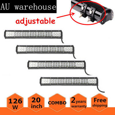 4x 20inch 126W CREE LED Spot Flood Combo 4WD Work Light Bar Offroad UTE Lamp SUV