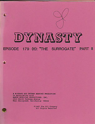 HEATHER LOCKLEAR - JOAN COLLINS - Orig DYNASTY Script THE SURROGATE Part II C#22