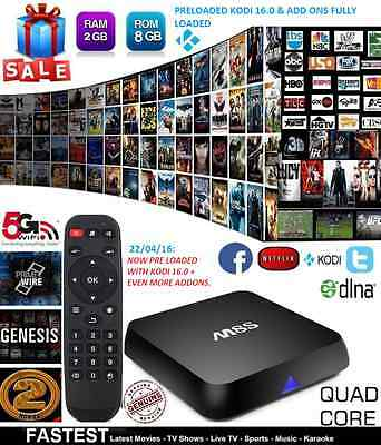 M8S XBMC KODI FULLY LOADED Quad Core 2GB Ram Android TV BOX Smart Media Player