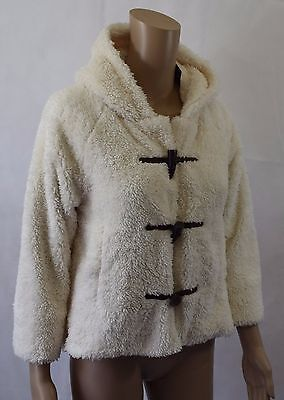 Bnwt Next Girl's Super Soft Cream Toggle Duffle Jacket - Age 11 Years (R93)