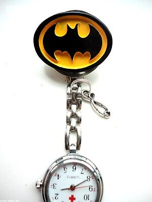 3D BATMAN Nurse Watch Clip on Backing silver stethoscope spare battery gift bag