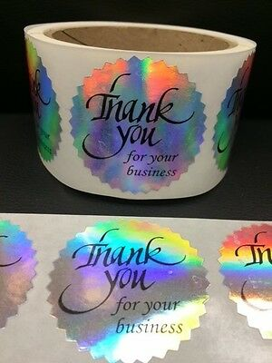 "250 Thank You for your business 2"" STICKER Starburst Holographic Paper"