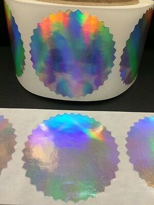 "25 2"" Certificate Wafer Holographic Seals Labels Awards Legal Embossing Stickers"