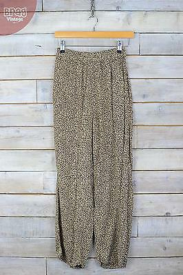 Vintage Leaf Print High Waisted Slouch Trousers (S) (6/8)