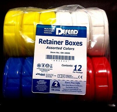 Retainer Boxes Assorted Colors  Defend 12/pack Dental #ob-2000