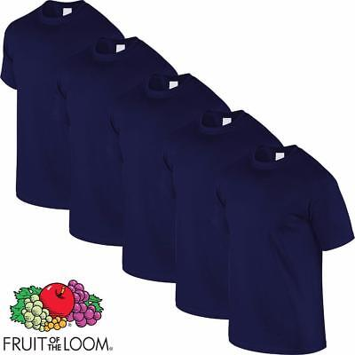 "Fruit Of The Loom 2,5,Or 10 Pack Plain Navy T Shirt Tee Shirt (S-5Xl) Grade ""A"""