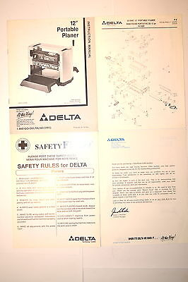 "Delta 12"" Portable Planer 22-540L Manual & Parts List & Safety Sheet #rr991"