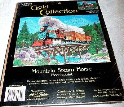 """Candamar Designs Gold Collection Needlepoint Kit MOUNTAIN STEAM HORSE 16"""" x 12"""""""