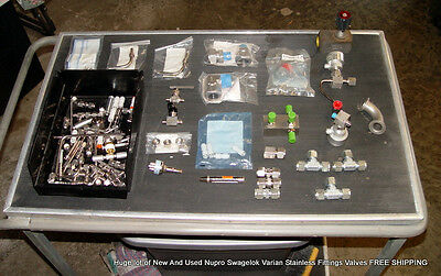 Huge lot of Nupro Swagelok Varian Stainless Fittings Valves FREE SHIPPING
