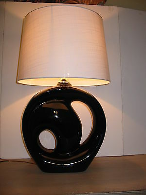 LG Mid-Century Black Abstract Sculptural Pottery Table Lamp Vintage Lighting