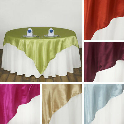 """5 SATIN SQUARE 90x90"""" TABLE OVERLAYS Wedding Party Toppers Decorations SALE"""