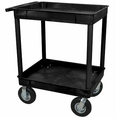 Luxor TC11P8-B 32 x 24-Inch Black Two Tub Cart with p8 Casters