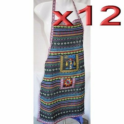 12pc Wholesale Bulk Lots Embroidered Cotton Kitchen Apron with Front Pocket